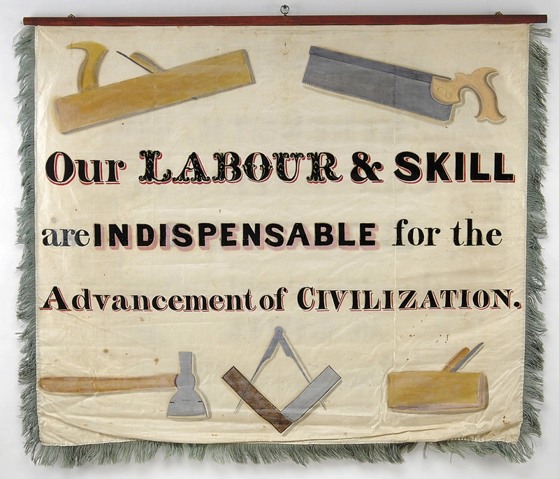 The Maine Charitable Mechanic Association, a Portland-based trade group that dates to 1815, created a series of banners in the early 1800s to promote the skilled trades. Banners were used in parades and other events and helped establish the labor movement in Maine.