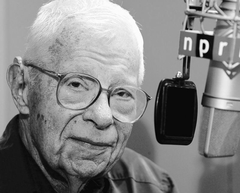 Daniel Schorr at the NPR mike at age 88.