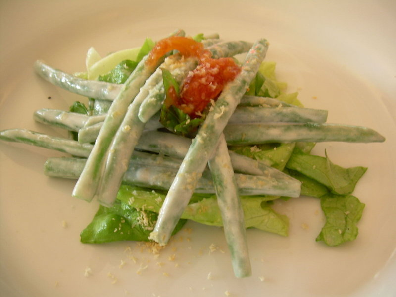 A haricot vert salad with almond, basil, red wine vinegar and creme fraiche dressing was sampled at a recent tasting at Natalie's in Camden. Chef Klang adapted it from one he made while working in France.