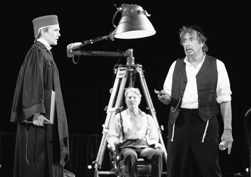 "Al Pacino, right, plays Shylock in ""The Merchant of Venice"" at the Delacorte Theater in New York. The play will move to Broadway on Oct. 19."