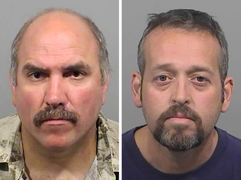 James Gammon, left, is charged with possession of a firearm by a felon. Richard Dorr, right, is charged with obstructing the report of a crime.