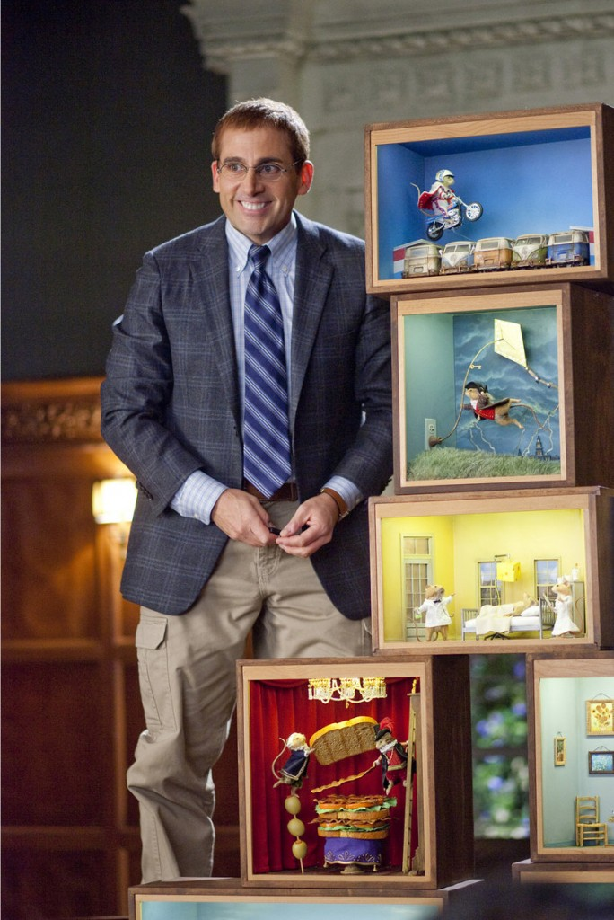 """Steve Carell plays Barry, whose hobby is building """"mousterpiece"""" dioramas, in the new comedy """"Dinner for Schmucks."""""""