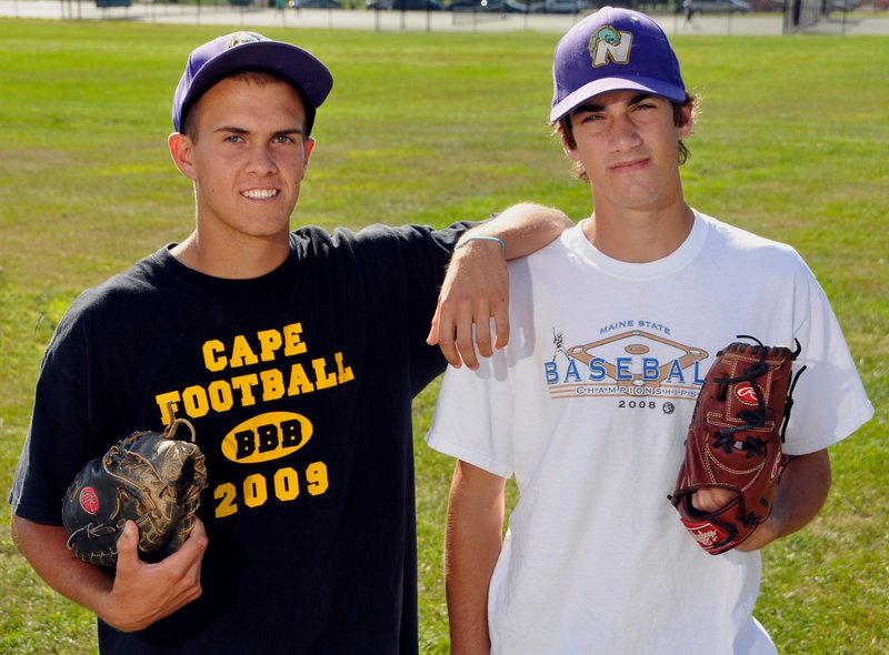 Kyle Danielson and Cam Brown of Cape Elizabeth were searching for a place to play Legion baseball and got one with Nova Seafood, which qualified for the state tourney.
