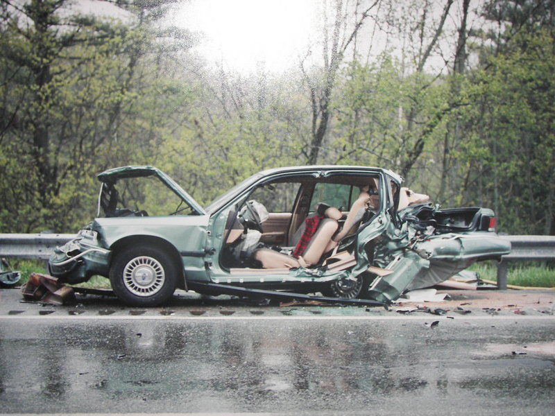 Maine State Police Sgt. Michael Edes was in this cruiser on the side of Interstate 295 when it was hit from behind in 2000 by a driver who was under the influence of drugs. Edes' injuries kept him out of work for six months.