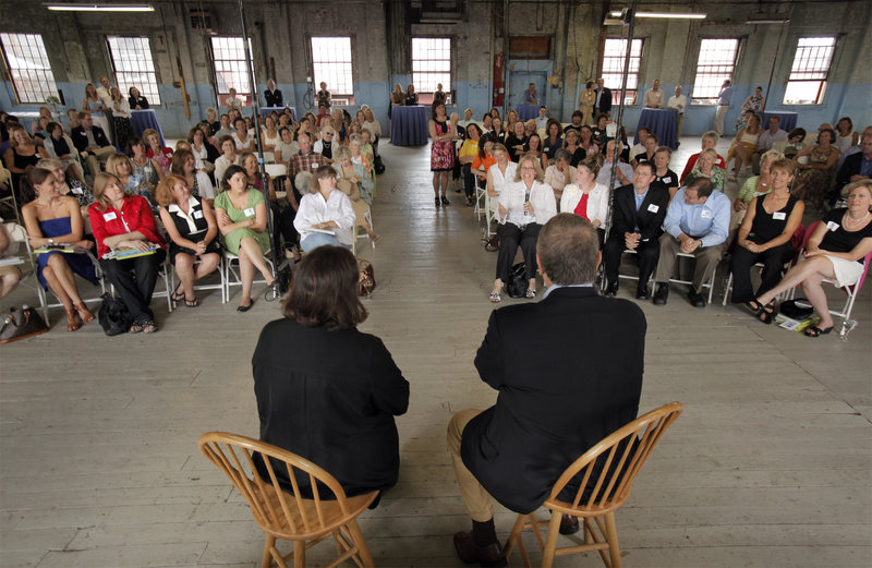 """Ina Garten, the """"Barefoot Contessa"""" of the Food Network, and independent gubernatorial candidate Eliot Cutler take questions from the audience at the Portland Co. on Fore Street in Portland on Friday."""