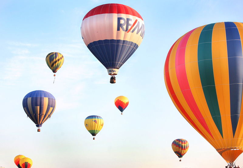 Balloons take to the sky during the 6 a.m. balloon launch at the Great Falls Balloon Festival today.