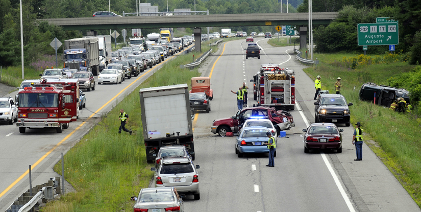 Traffic was brought to a standstill this afternoon as rescuers tended to the injured in a three-vehicle accident on Interstate 95 in Augusta at approximately 2:30 p.m.