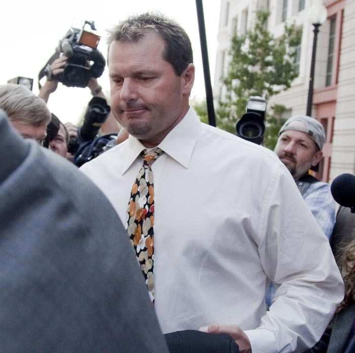 Former baseball pitcher Roger Clemens leaves federal court in Washington today after pleading not guilty to charges of lying to Congress about whether he used steroids or human growth hormone.