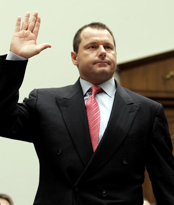 Former New York Yankees pitcher Roger Clemens is sworn in on Capitol Hill on Feb. 13, 2008, prior to testifying before the House Oversight and Government Reform committee hearing on drug use in baseball. HGH oath performance-enhancing drugs professional baseball playe