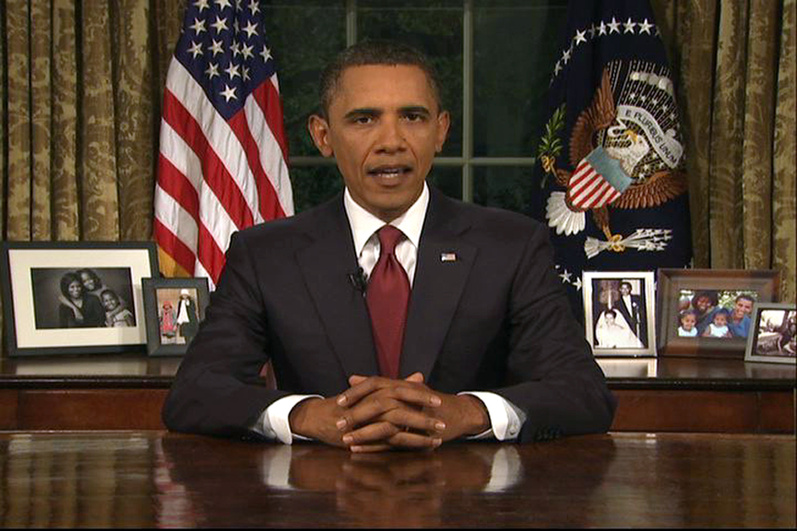 In this image from video, President Obama speaks from the Oval Office at the White House tonight about the end of the U.S. combat role in Iraq.