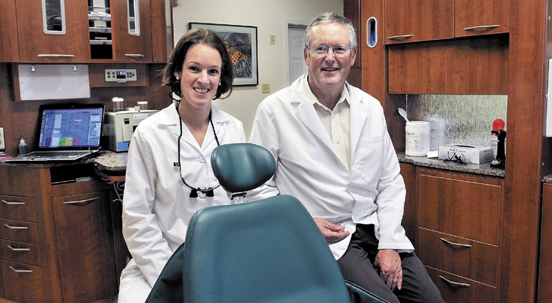 Abigail Manter and her father George Manter are partners in the Silver Street Dentistry practice in Waterville.