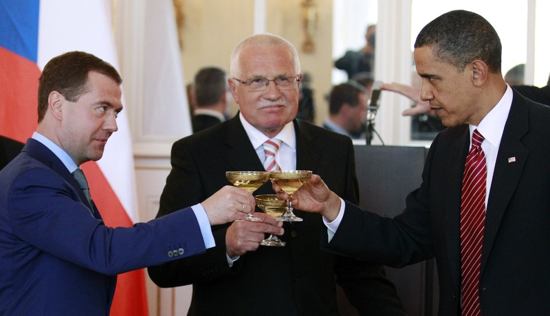 President Obama, right, toasts with Russian president Dmitry Medvedev, left, and Czech Republic president Vaclav Klaus at the Prague Castle in Prague on April 8. Obama and Medvedev signed the New START treaty later in the day.