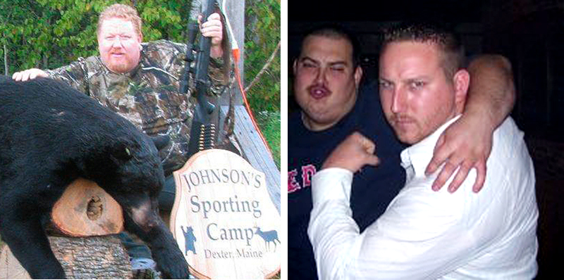 Andrew Giroux of Saco, shown here with a black bear he shot last year in Sangerville, and his son Dustin, far right.