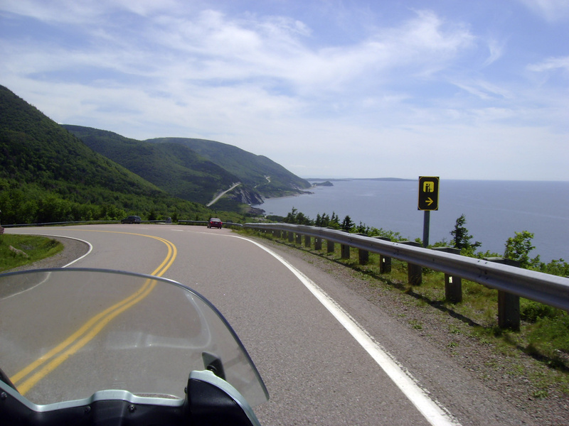 The road along the eastern edge of Cape Breton is a highlight of a motorcycle tour along the Cabot Trail in Nova Scotia.