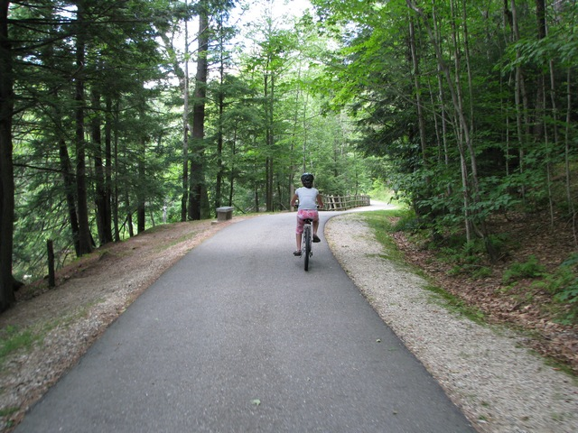 The paved trail, about 4 miles round-trip, is fairly level with a couple of small hills.