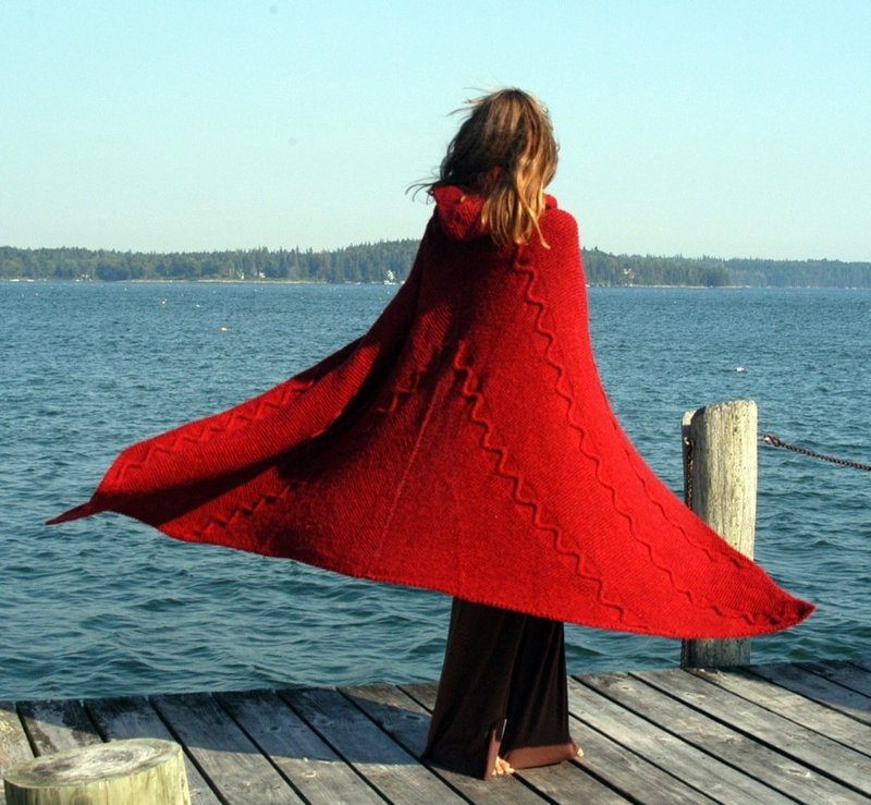 Knitted wool cape by Katharine Cobey of Cushing