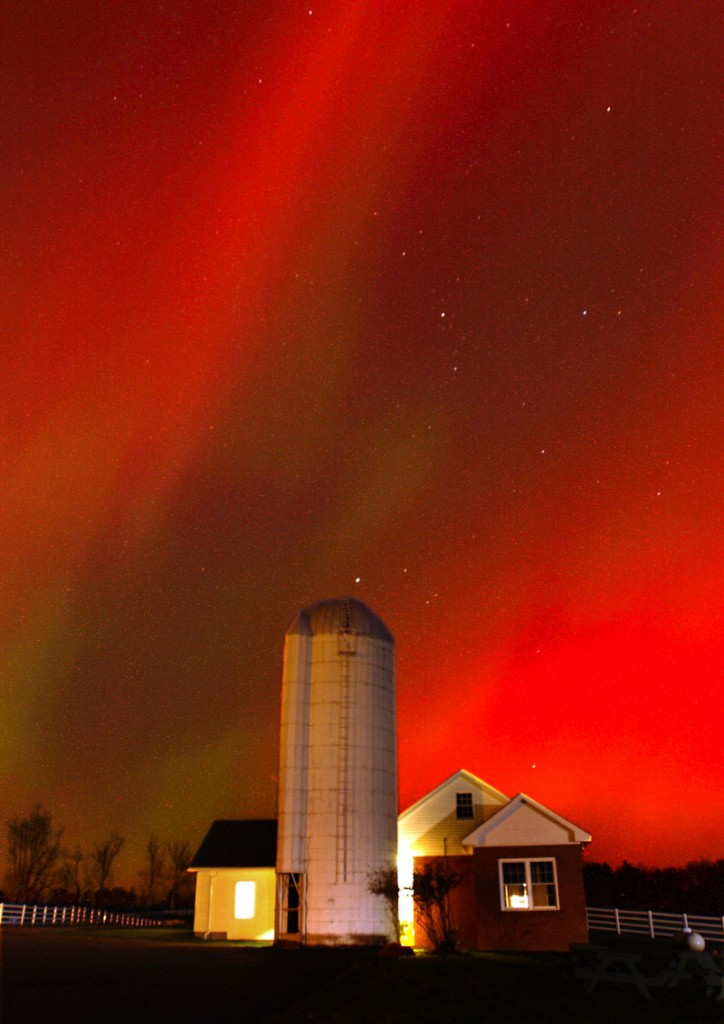 The northern lights flutter over Pineland Farms in New Gloucester in this 30-second exposure photograph from October 2003. A similar light show could occur tonight.