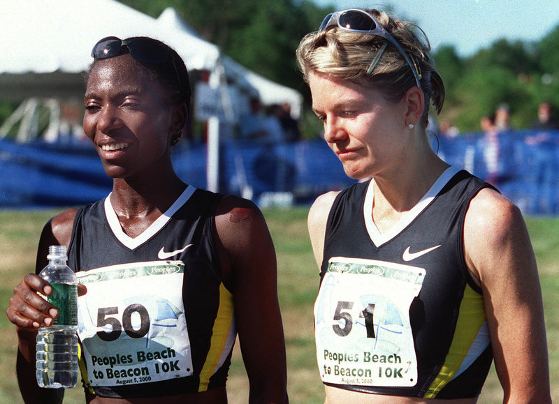 One runner was smiling and the other …... it wasn't a time for smiles. In August 2000, Catherine Ndereba, left, won the closest and most controversial TD Bank Beach to Beacon, beating Libbie Hickman, right, when Hickman pulled up at the ceremonial, not actual, finish line.