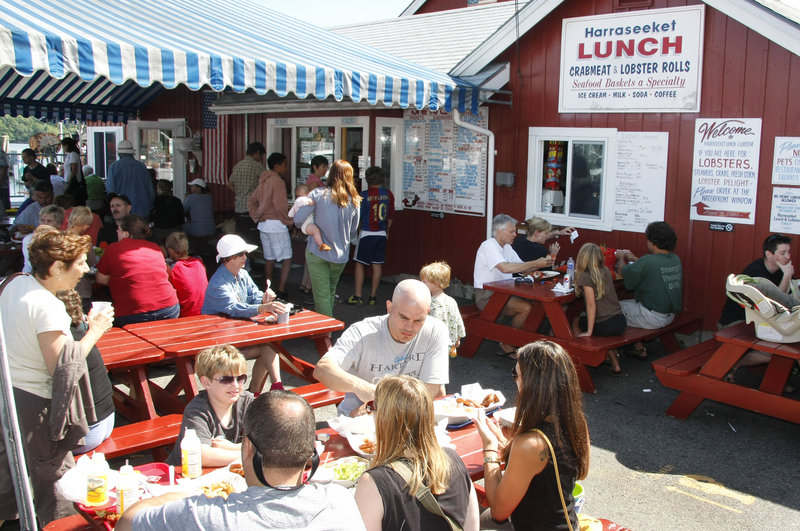 Many visitors bring their own wine or beer to Harraseeket Lunch & Lobster Co. and find a spot to eat at the picnic tables outside, in the sun or under the canopy. There also are tables inside for anyone who wants to escape the heat or chill.