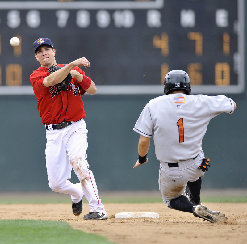 Sea Dogs second baseman Nate Spears avoids the sliding Greg Miclat of the Baysox and throws to first to complete a double play Thursday afternoon at Hadlock Field. Bowie took an early lead and put away a 4-3 victory.