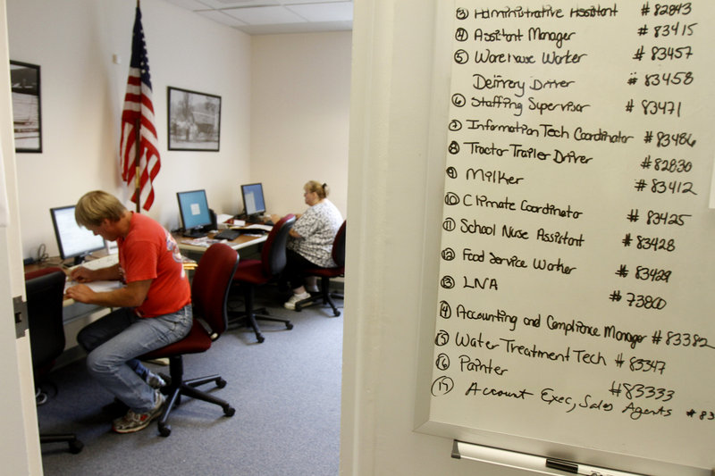 A list of job openings is seen on the wall at the Vermont Department of Labor Resource Center in Barre, Vt., on Thursday. The U.S. jobless rate remained at 9.5 percent for July.