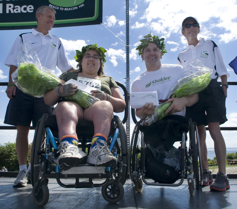 Catherine Jalbert of Brewer and Craig Blanchette of Battle Ground, Wash., were the female and male winners in the push wheelchair division. Blanchette beat three-time champion Patrick Doak with a time of 24:12, and Jalbert finished in1:29:50.