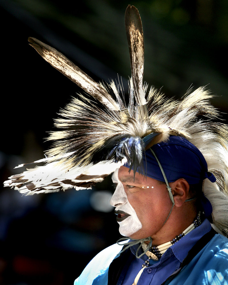 Don Barnaby of Listuguj, Quebec, a member of the Mi'gmaq First Nation, shows his colors at the Honor the Animals Native American Powwow at Maine Wildlife Park in Gray on Saturday.