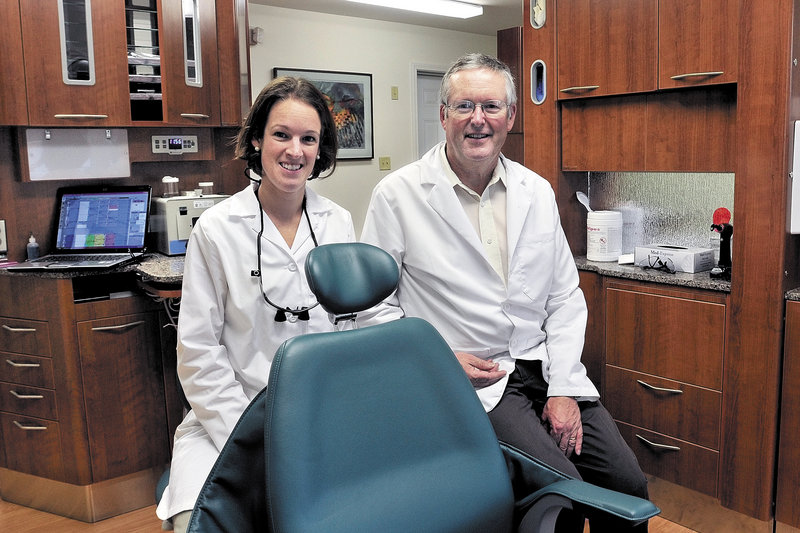Abigail Manter, 27, and her father, George, 60, are partners at Silver Street Dentistry in Waterville. Men still make up the majority of Maine dentists, but that's because most of the practitioners earned their degrees when few women saw the field as a viable career option.