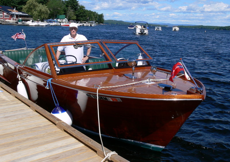 Sterling Smith brought his 1959 Chris Craft Sportsman to the Naples Classic and Antique Wooden Boat Bhow. Always the first weekend in August, the show had 36 oldies this year.