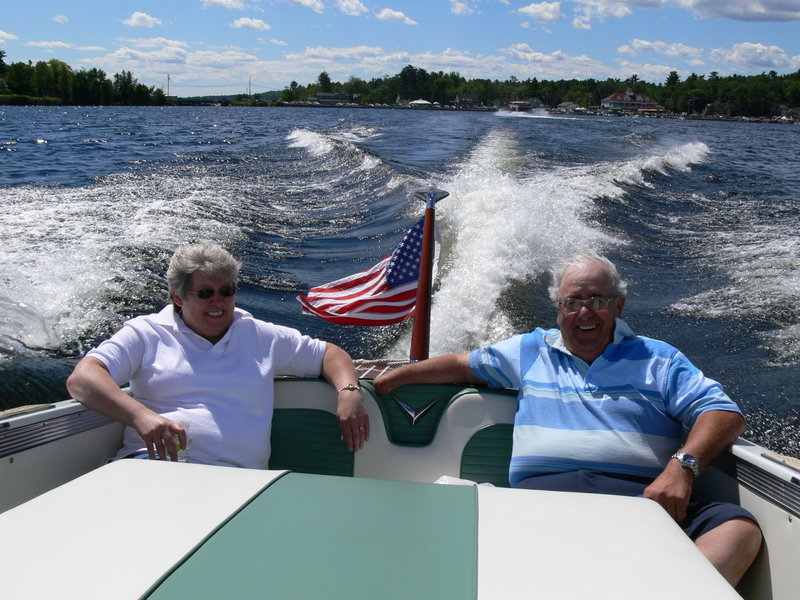 Visiting from Aroostook County, Nancy and Paul Michaud enjoy a ride in a 1956 Century Coronado.