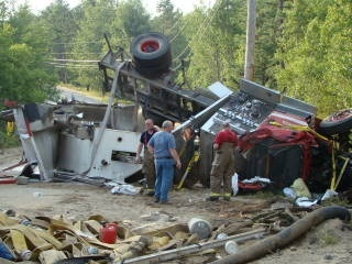 A Shapleigh pumper-tanker carrying 1,800 gallons of water was destroyed Sunday when a firefighter returning from the scene of a dryer fire hit a soft shoulder and rolled over on Newfield Road. Capt. Natasha Kinney is recovering at home.