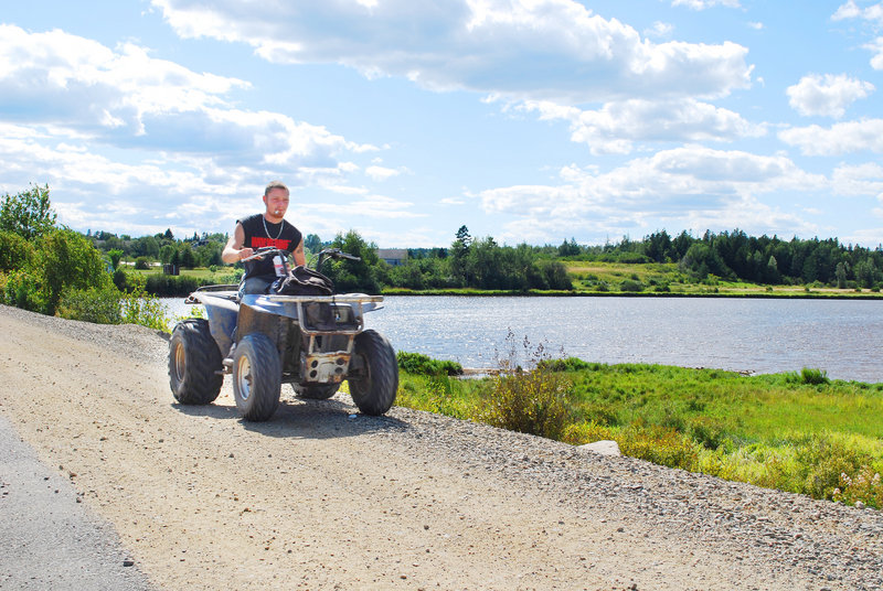 Matt Cservak of East Machias rides the Down East Sunrise Trail between Whitneyville and Ayers Junction. He said when the trail extends to Ellsworth this fall, he will ride the entire 85-mile stretch.