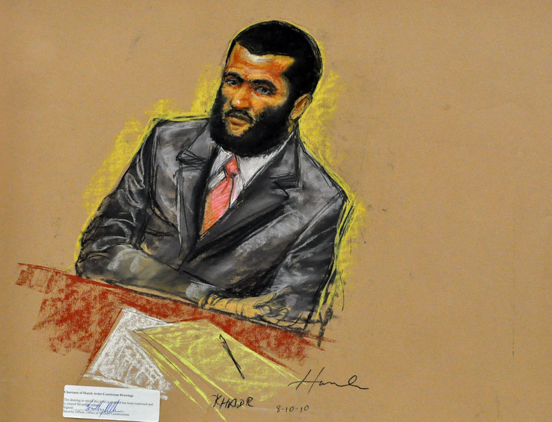 A sketch shows Canadian detainee Omar Khadr in court for his trial on spying, murder and other terror-related charges.