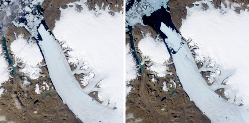 """Satellite images from NASA show the Petermann Glacier on July 28 (left photo) and after the ice sheet broke free on Aug. 5. """"It's so big that you can't prevent it from drifting. You can't stop it,"""" says Jon-Ove Methlie Hagen, a glaciologist at the University of Oslo."""