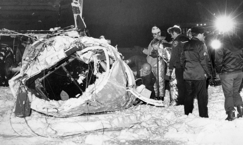 Authorities examine the wreckage of a December 1978 crash of a private jet at Anchorage International Airport. Republican Sen. Ted Stevens survived the crash, but his first wife, Ann, was killed. Stevens, an uncompromising advocate for Alaska for four decades who delivered scores of expensive projects to one of the nation's most sparsely populated states, died in a plane crash on Monday at the age of 86.