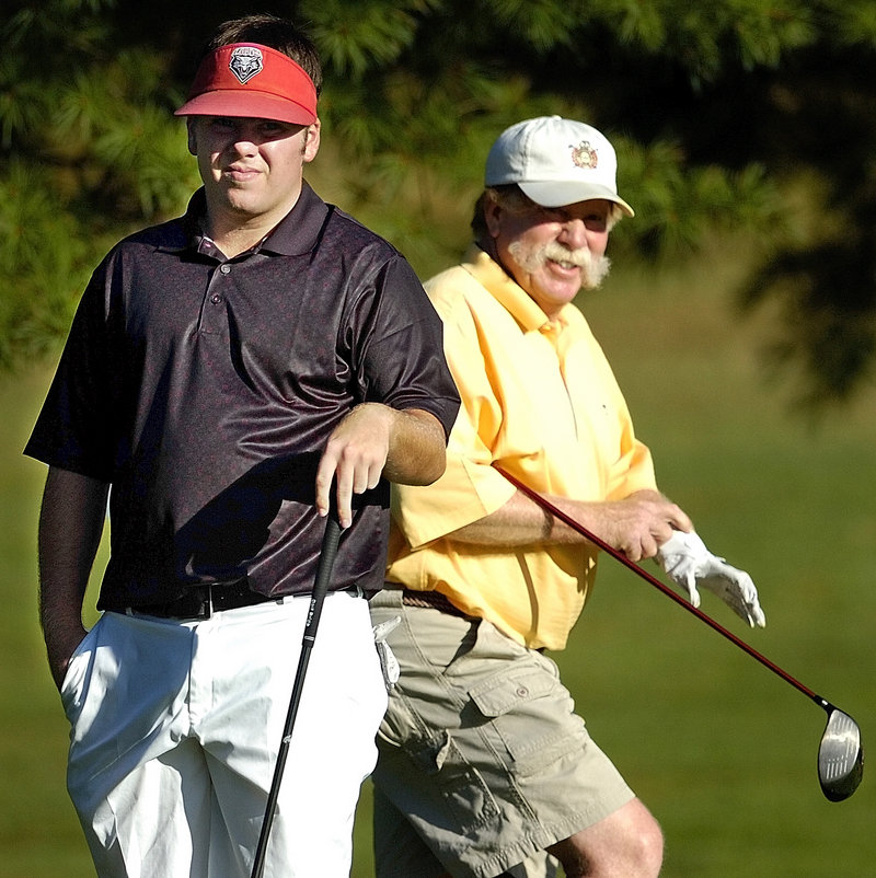 Mark Plummer, right, has been friend and mentor to Ryan Gay, but on the golf course as opponents, Plummer still wants to win, as he did Wednesday at the MSGA match play tournament.