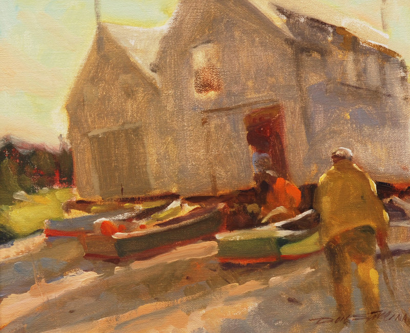"Don Stone, ""Beach Work,"" oil on canvasboard."