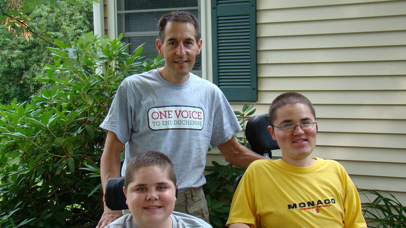 Labor Day Classic 5K Run & 2-Mile Walk co-founder Brian Denger poses with sons Patrick, left, and Matthew. Both boys are living with Duchenne muscular dystrophy, a genetic disorder that hinders muscle development.