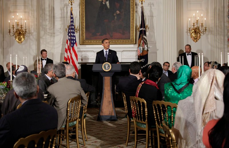 President Obama speaks at a gathering for Iftar, the meal that breaks the dawn-to-dusk fast for Muslims during the holy month of Ramadan, at the White House on Friday. He emphasized the American tenet of religious freedom as debate swirls over whether a mosque should be built near the site of the World Trade Center attacks in New York City.