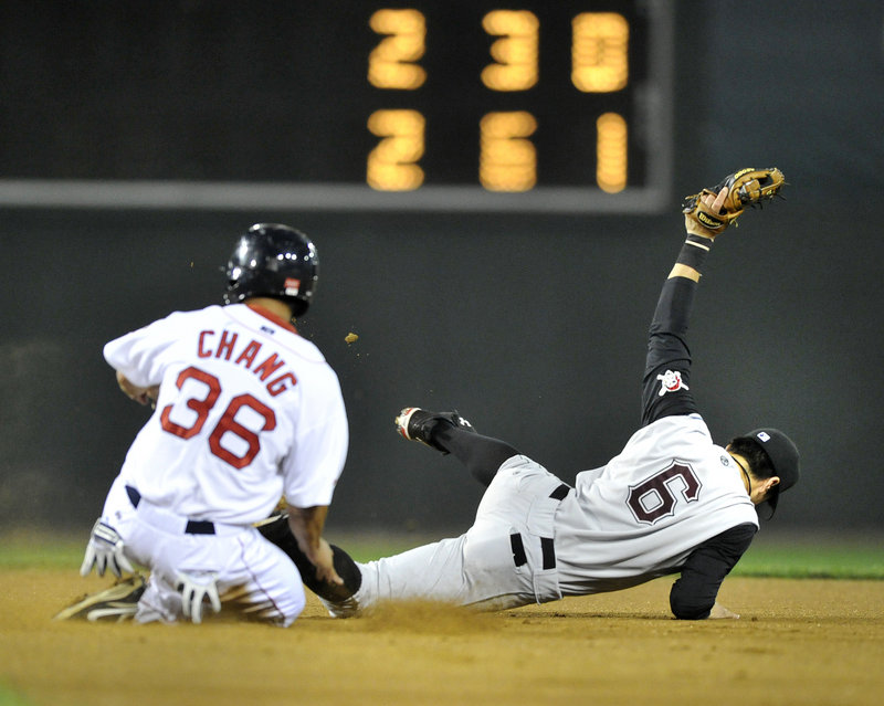 Second baseman Chase d'Arnaud of the Altoona Curve shows the ball after coming up with an errant throw Tuesday night to force Ray Chang of the Portland Sea Dogs in the fourth inning. Altoona won 4-2 at Hadlock Field.