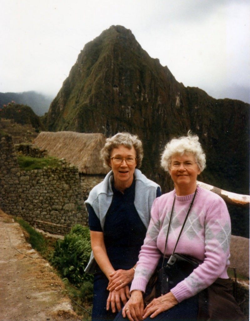 Esther Dudley, right, with her friend Margaret Lee of Indiana, while they hiked at the Machu Picchu ruins in Peru in the 1980s.