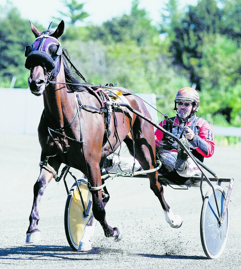 Harris and Fast Guy navigate the track Thursday. Officials in Biddeford this week took a preliminary step that might entice Scarborough Downs to move.