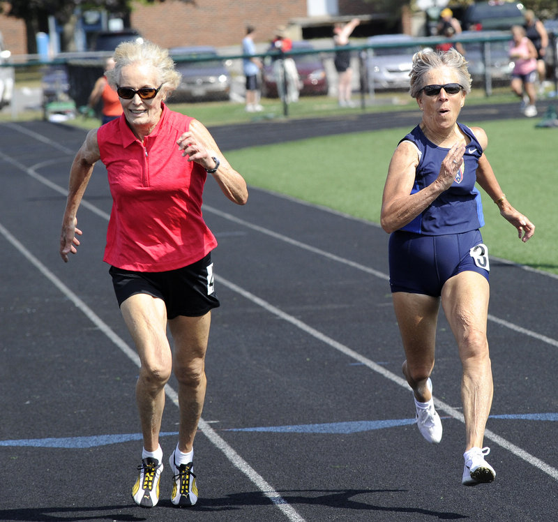 Audrey Lary, 76, of Frederick, Md., who holds two American track and field age-group records, edges Barbara Jordan, 74, of South Burlington, Vt., to win the 200 meters on Saturday at the Maine Senior Games.