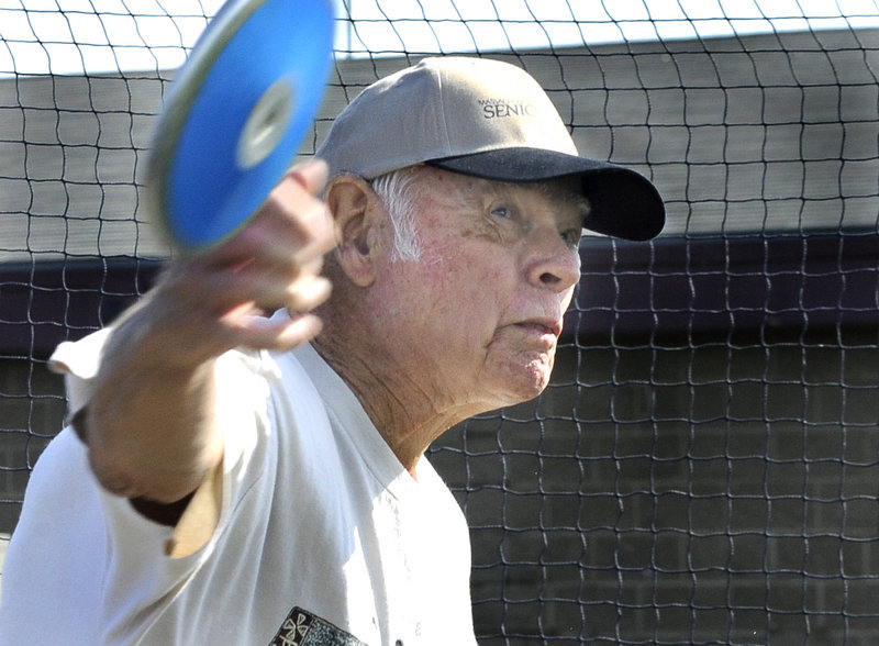 David Chase of Westport, Mass., may be 90, but no way will age stop him from his love of throwing the discus at the Maine Senior Games in Scarborough.