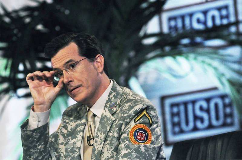 "Stephen Colbert of the Comedy Central television program ""The Colbert Report"" tapes the first of four shows in front of U.S. soldiers at Camp Victory in Baghdad, Iraq."