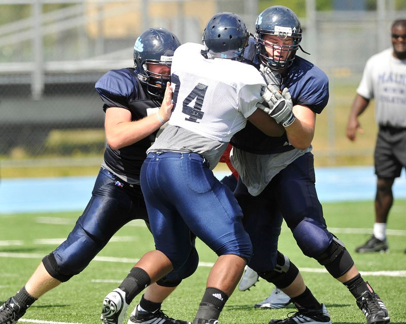University of Maine offensive linemen William Martin, left, and Steve Shea, right, double-team block Adam Copp during a recent football practice in Orono. Four of the Black Bears' five interior offensive linemen return from the 2009 squad.