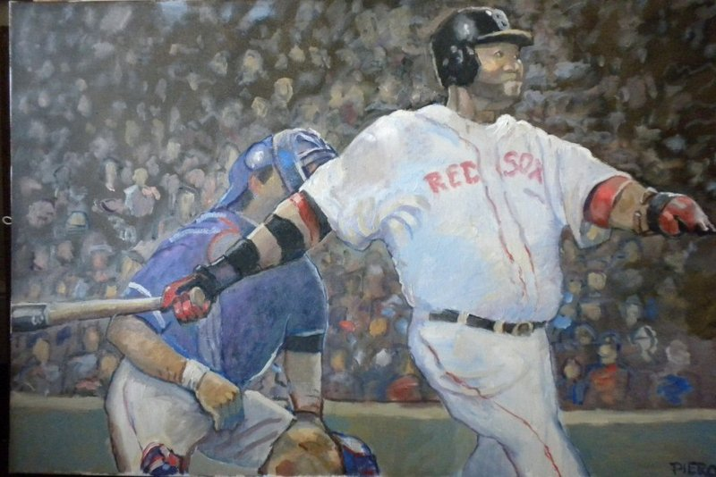 """""""Red Sox,"""" by Frank Pierobello. An exhibit featuring Pierobello's paintings and those of his friend Martha Briana opens Wednesday at Mayo Street Arts in Portland."""