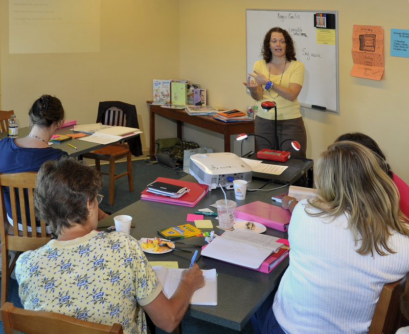 Shana Frazin, Intermediate Level seminar leader, discusses story development for elementary students at a teacher training program at the Glickman Family Library in Portland this week, put on by the Teachers College Readers and Writers Project.