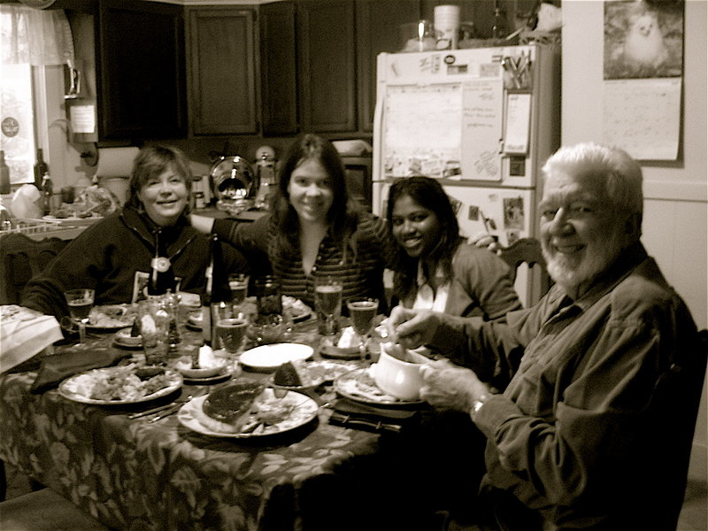 Jim Haley, right, is seen with his daughters Philomena and Molly Haley and former wife Sally Haley, left, enjoying a Thanksgiving meal in 2005.