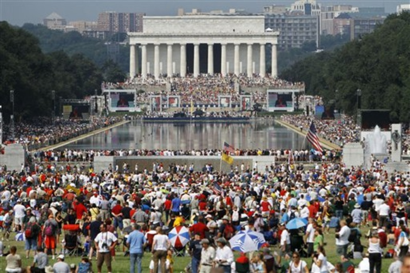 """The crowd attending Saturday's """"Restoring"""" Honor rally, organized by Glenn Beck, is seen from the base of the Washington Monument in Washington."""
